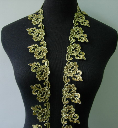 "TL134 2"" Floral Metallic Trimming Corded Lace Edging Gold 1Y"