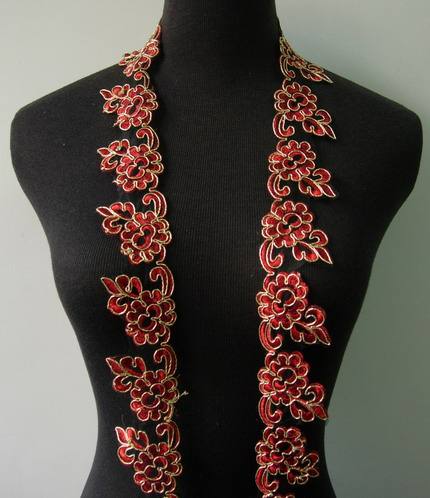 "TL135 2"" Floral Metallic Trimming Corded Lace Edging Red 1Y"
