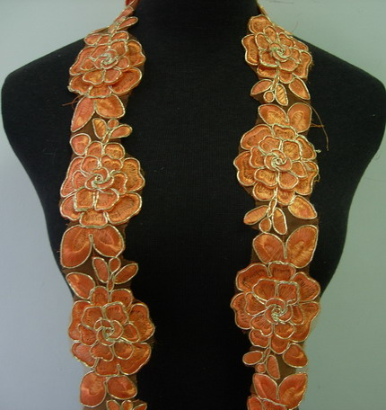 "TL141-5 2.5"" Tier Rose Orange Trims Cord Lace Edging 1Y"