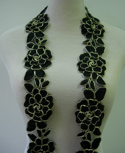"TL141-7 2.5"" Tier Rose Trims Cord Lace Edging Black 1Y"