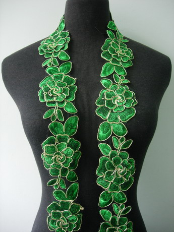 "TL141-8 2.5"" Tier Rose Trims Cord Lace Edging Green 1Y"
