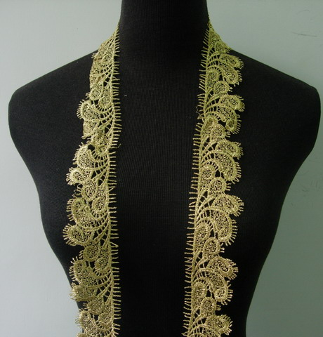 "TL154 1.6"" Classic Tail Floral Metallic Gold Trim Lace Edging 1Y"