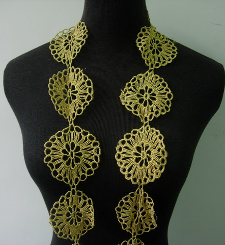 "TL155 3"" Trendy Flower Celtic Metallic Gold Trim Lace Edging 1Y"