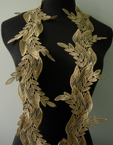 "TL156 5 2/8"" Leaf Leaves Metallic Trim Lace Edging Beige Gold 1Y"