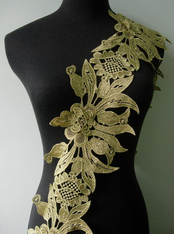 "TL159 6"" Floral Core Leaves Metallic Trim Lace Edge L.Gold 1Y"