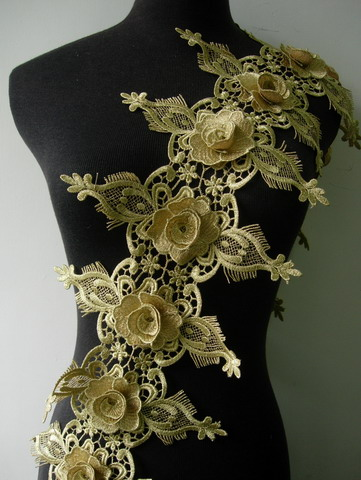 "TL161 8"" Tier Floral Rose Metallic Trim Lace Edge L.Gold 1Y"