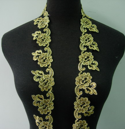 "TL162 2"" Floral Rhinestine Metallic Trimming Lace Edging Gold 1Y"