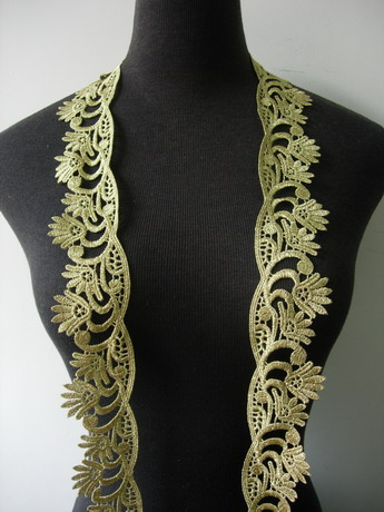 "TL165 2"" Leaf Tree Floral Metallic Trims Lace Edging Gold 1Y"