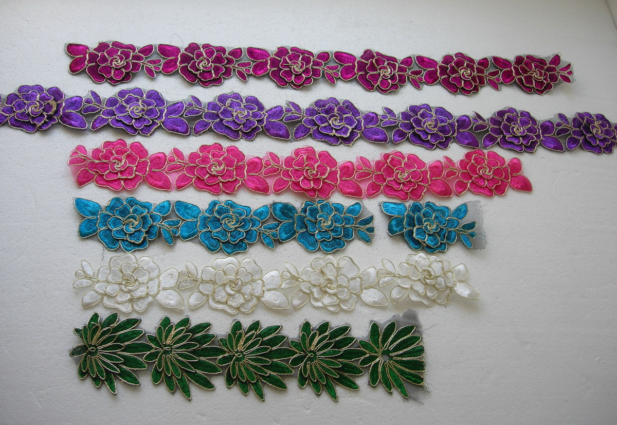 "TL173 2.5"" Tier Rose Trims Cord Lace Edging Motif Assorted 3.3y"
