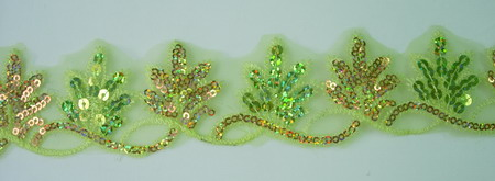 TL75 Lime Gold Leaves Leaf Hologram Sequins Trim Lace 10yards