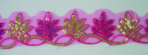TL76 Fuchsia Gold Leaves Leaf Hologram Sequins Trim Lace 14yards