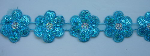 TL82 Petals Flower Embroidery Holgram Sequin Trim Lace Aqua 1y