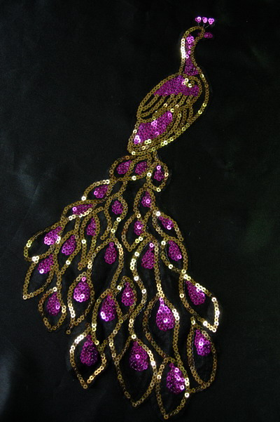 VA24 Purple Gold Sequin Venice Applique Large Peacock