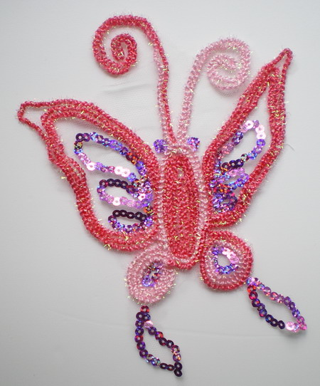 VA27 3Tone Pink Trim Cord Sequin Venice Applique Butterfly