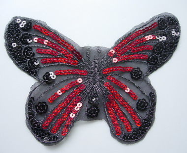 VA35 Butterfly Sequin Venise Venice Applique Red & Black 2pcs