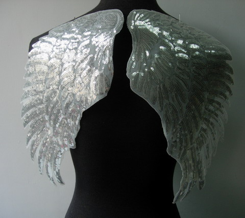 VB45 Mirror Pair Winged Sequined Applique Silver Iron On