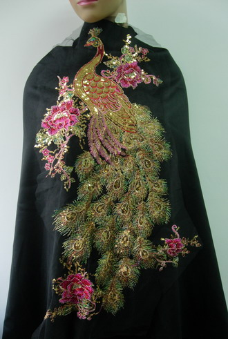 VB46 Large Pheonix Peacock Embroidery Sequined Trim Tulle Motif