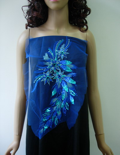 VB48-2 Long Floral R.Blue Trim Sequined Trim Tulle Applique