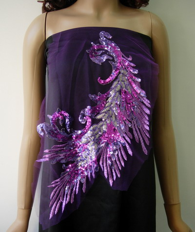 VB56 Lavender Peacock Tail Floral Sequin Trimming Applique Motif