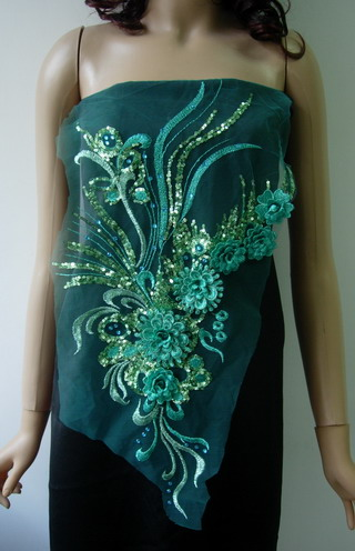VB62-2 Teal 3D Tier Floral Sequin Rhinestones Tulle Applique
