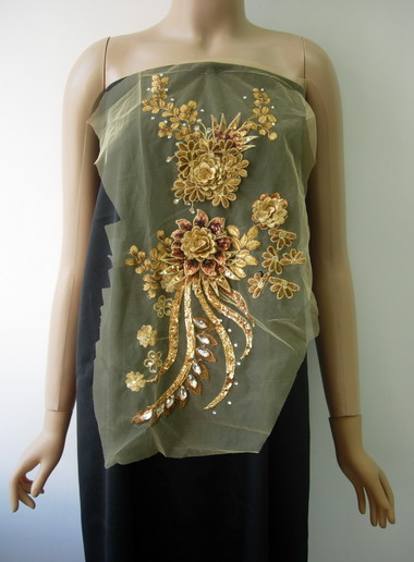 VB63 Gold Brown 3D Layered Floral Sequin Gems Tulle Applique