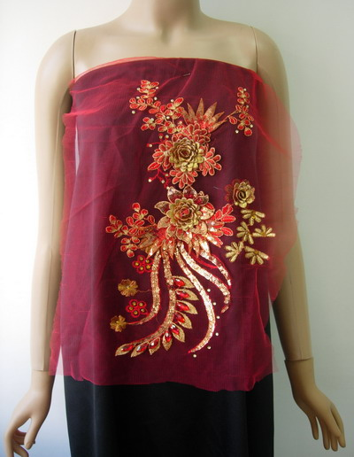VB64 Red Gold 3D Layered Floral Sequin Gems Tulle Applique
