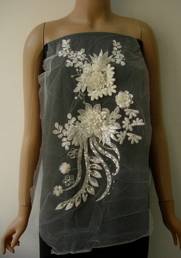 VB65-2 Cream Silver 3D Layered Floral Sequin Gems Tulle Applique