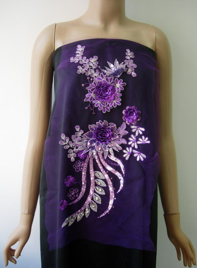 VB65 Purple Tone 3D Layered Floral Sequin Gems Tulle Applique