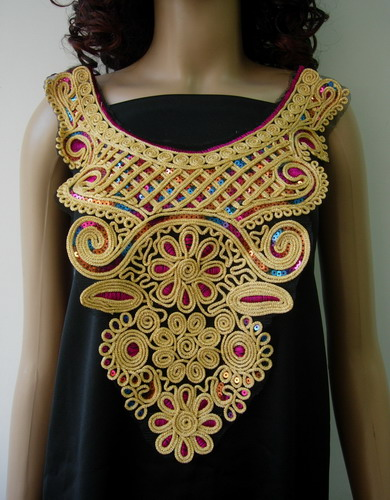 VB66 Colorful Victorian Bodice Sequined Corded Applique Sew On
