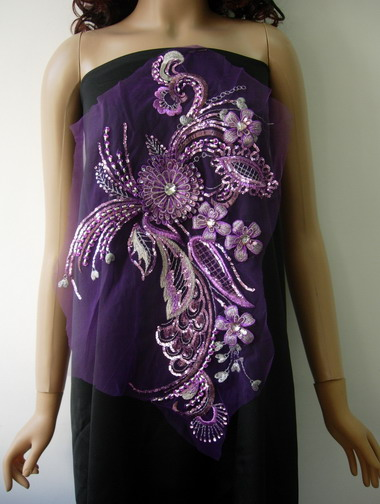 VB69 Vinatge Swirl 3D Floral Gems Sequined Applique Lavender