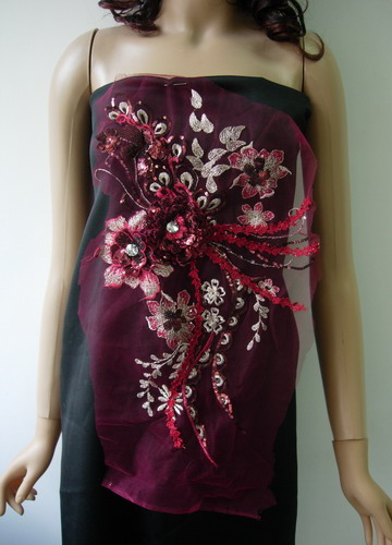 VB72 Maroon Silver 3D Layered Floral Sequin Gems Tulle Applique