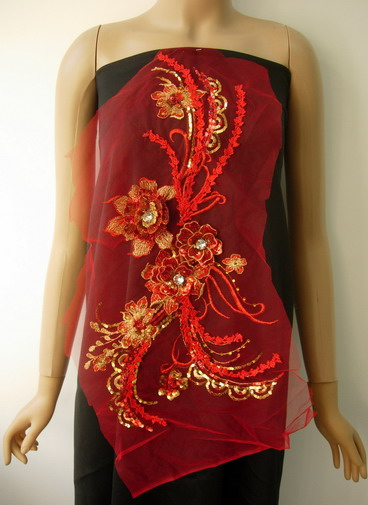 VB73 Red Gold 3D Tier Floral Sequined Gems Tulle Applique Sew On