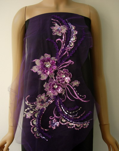 VB74 Purple Tone 3D Tier Floral Sequined Gems Tulle Applique