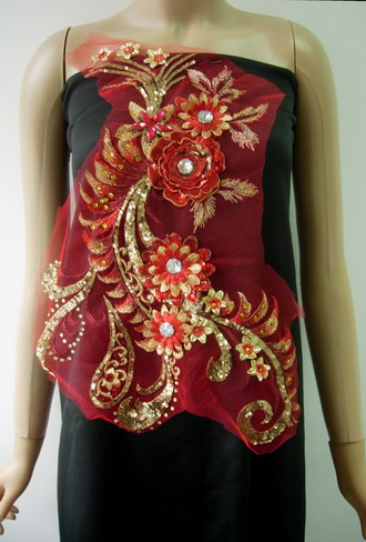 VB75 Red Gold Trims 3D Tier Floral Sequined Gems Tulle Applique