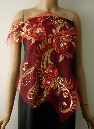 VB76 Elegant 3D Floral Red Gold Trims Sequin Gems Tulle Applique