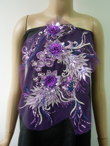 VB77 Purple Layered 3D Floral-L Trims Sequin Gems Tulle Applique