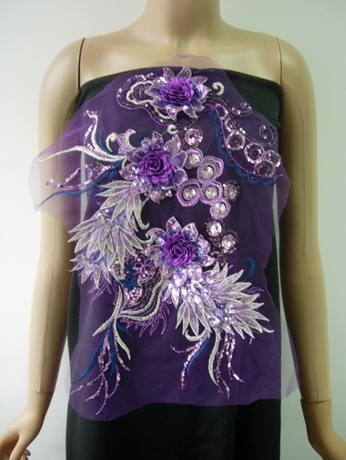 VB78 Purple Layered 3D Floral-R Trims Sequin Gems Tulle Applique