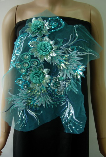 VB79 Aqua Layered 3D Floral-L Trims Sequin Gems Tulle Applique