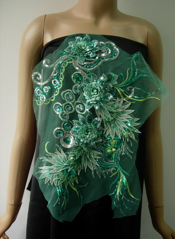 VB80-2 Teal Layered 3D Floral-L Trims Sequin Gems Tulle Applique