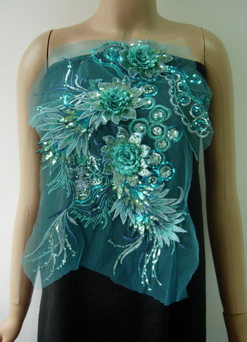 VB80 Aqua Layered 3D Floral-R Trims Sequin Gems Tulle Applique