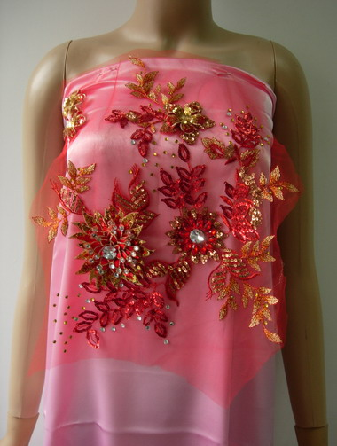 VB84 Red/Gold 3D Floral Rhinestones Gems Sequined Tulle Applique