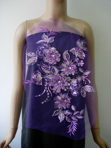 VB91 3D Tier Floral Leaves Gemstone Sequined Tulle Motif Purple