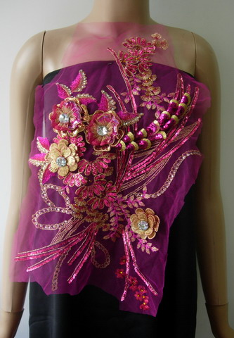 VB92 Fuchsia 3D Floral Trims Rhinestone Sequined Tulle Applique