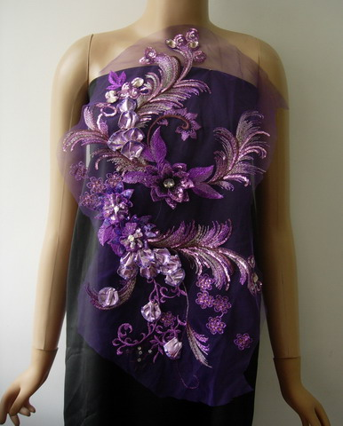 VB93 Purple Tone 3D Tail Floral Gems Sequined Tulle Applique