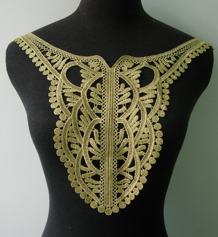 VY123 Vinatge Collar Bodice Front Metallic Gold Trim Applique