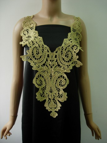 VY131 Lace Floral Bodice V-Neck Gold Metallic Trims Applique