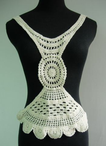 CF05 Cotton Thread Crochet Bodice Front Venise Applique Cream