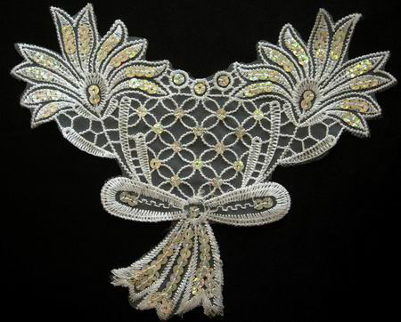 VF27 Lace Venice Sequin Applique Hologram Bowflower 2pcs