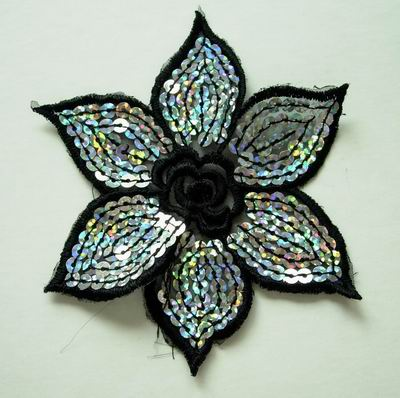 VF05 2pcs Black Petals Flower Venise Venice Applique - Click Image to Close