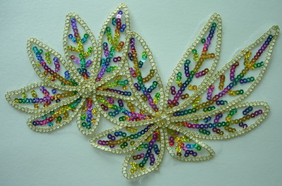 VF58 2pcs Venise Sequin Applique Trim Cord Multicolor Leaf